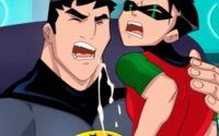 Robin cums fucked by gay batman
