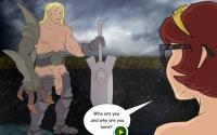 Redhead girl admires a huge vikings cock